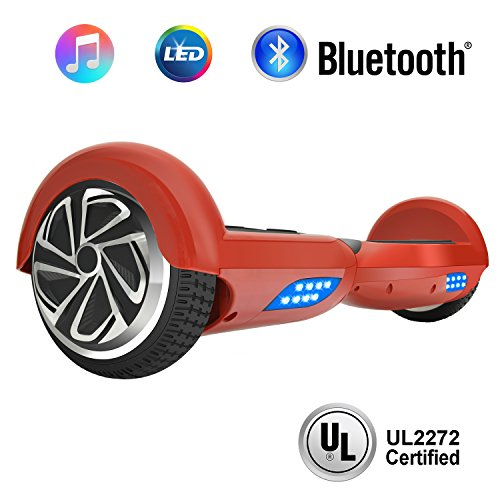 NHT 6.5' Wheel Hoverboard Electric Smart Self Balancing Scooter with Bluetooth Speaker - UL2272 Certified, Color: Red