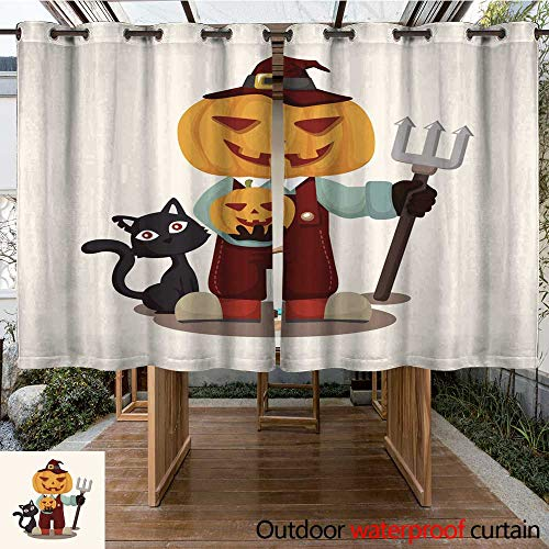 RenteriaDecor Outdoor Curtains for Patio Sheer Halloween Party Costume Theme Elements W84 x L72 ()