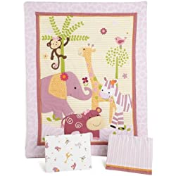 Bedtime Originals Lil' Friends 3 Piece Crib Bedding Set, Lavender/Pink