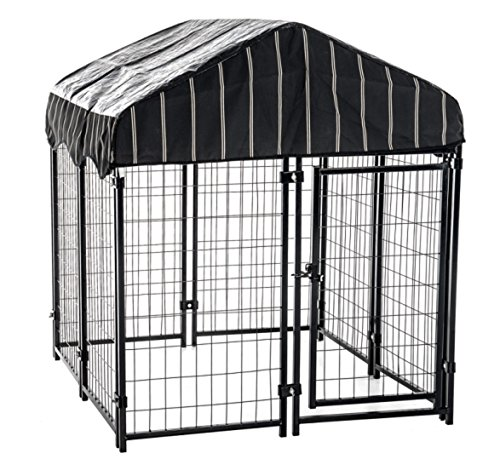 Heavy Duty Welded Outdoor Pet Playpen - Water Resistant Roof Cover (4' W x 8'L x 6'H) - Ideal for Larger Dogs