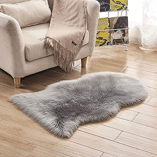 (LOCHAS Deluxe Fluffy Faux Sheepskin Silky Rug for Bedroom Floor Sofa, Shaggy Chair Cover Seat Couch Pad Area Carpet, 2 x 3 feet, Grey)