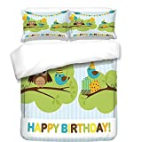 iPrint 3Pcs Duvet Cover Set,Birthday Decorations for Kids,Cartoon Owl Bird Tree Branch with Flags on Striped Backdrop,Multicolor,Best Bedding Gifts for Family/Friends