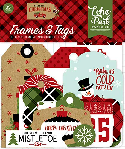 Echo Park Paper Company CCH159025 Celebrate Christmas Frames & Tags Ephemera, Red/Green/Tan/Burlap/Black ()