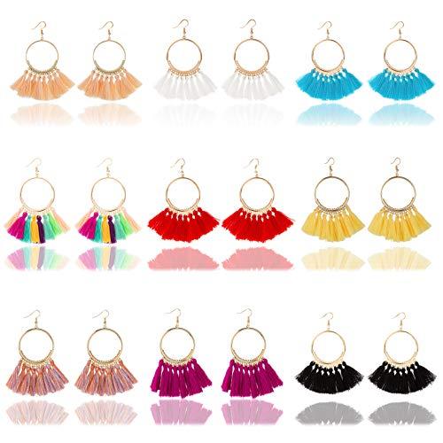 Masedy 9-12 Pairs Tassel Hoop Earrings for Women Fan Shape Dangle Drop Earrings Girls Bohemian Statement - Shape Fan