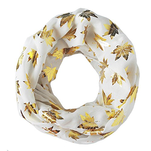 Trelemek Women's Gold Foil Maple Leaf Printed Oversized Infinity Scarf
