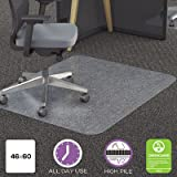 Clear Polycarbonate All Day Use Chair Mat for All Pile Carpet, 46 x 60, Sold as 1 Each