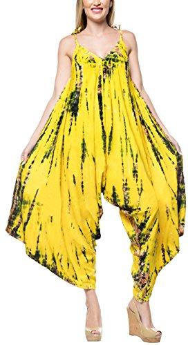 LA LEELA Rayon Tie Dye Beach Womens Dress Wear OSFM 14-16 [L-1X] Yellow_3468 (Best Places To Shop Cyber Monday 2019)