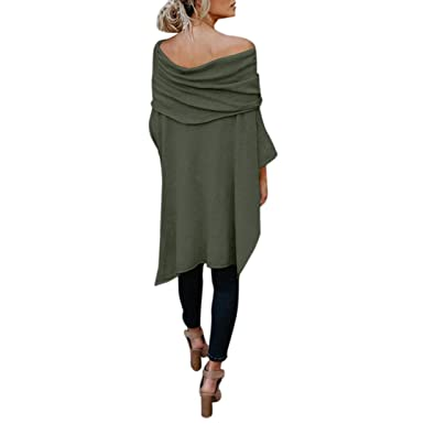 c612530d311a67 Ecurson Fashion Womens Off Shoulder Shirt Tops Irregular Casual Tops Blouse  (Army Green