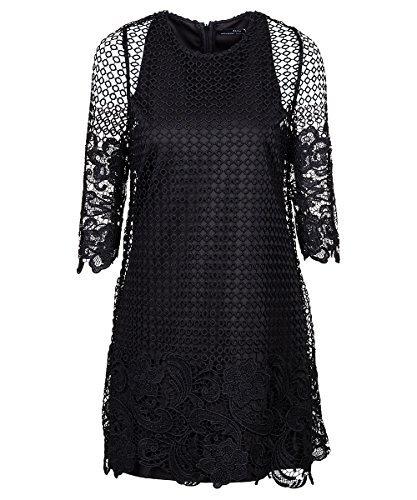 Zara diseño de encaje vestido de traje de neopreno para mujer negro M