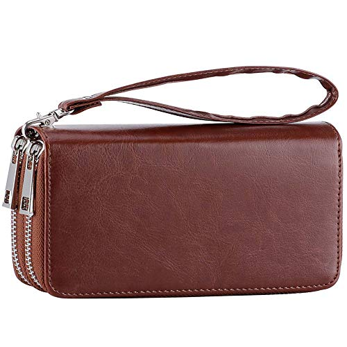Womens Double Zipper Around Long Clutch Wallet Credit Card Holder Purse with Coin Pocket for Cash, Coin, and 5.5 inch Cellphone (FMW Brown with Wristlet Strap) ()