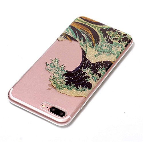 Custodia iPhone 7 Plus / iPhone 8 Plus , LH Le Onde TPU Trasparente Silicone Cristallo Morbido Case Cover Custodie per Apple iPhone 7 Plus / iPhone 8 Plus 5.5