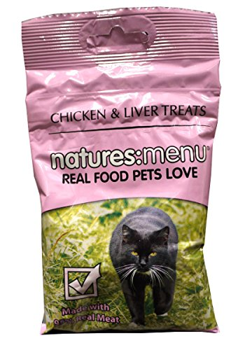 Natures Menu Chicken & Liver Cat Treats, Made with 95% Real Meat, 12 x 60g Pouches