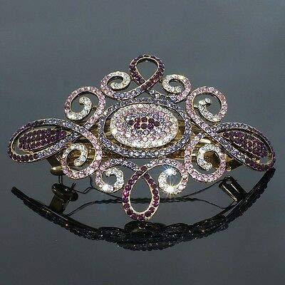 FidgetKute B97 Elegant Purple Rhinestone Crystal Flower Gold Tone Barrette Hair Clip 4
