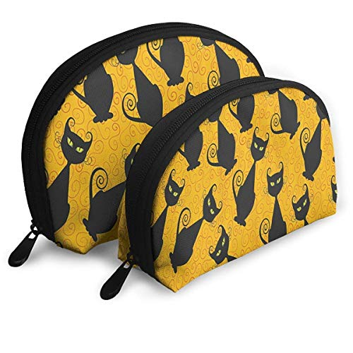 Black Cat for Halloween Handy Cosmetic Pouch Clutch Makeup Bag. -