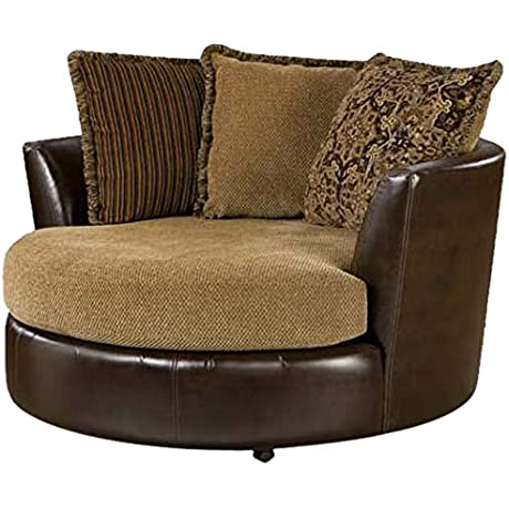 Chelsea Home Furniture Dakota Swivel Chair Tote Saddle Cozy Burlap
