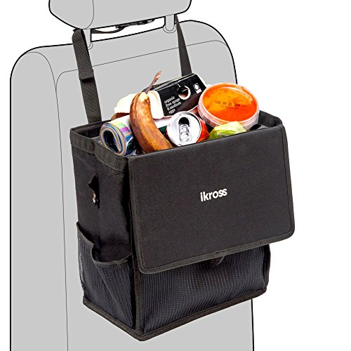iKross Hanging Car Trash Can with Leakproof Bag, Lid, Backseat Strap, Side Pockets, Auto Storage Organizer for Travel, Road Trip - Black