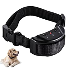 Hualite Dog No Bark Collar, Anti Barking Training Collar for Pet with 7 Levels Adjustable Sensitivity Electric Control, No Harm Warning Beep and Shock for 15-120 lb. Large and Medium Dogs