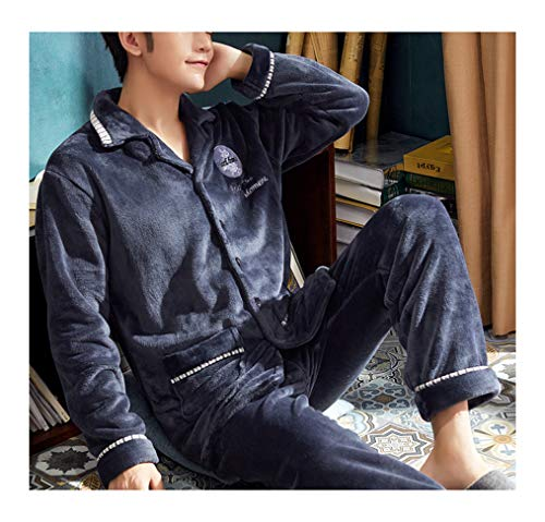 Femaroly Mens Flannel Long-Sleeve Top/Botton Lounge Pant Sleepwear Pajamas Set OI4714 M ()