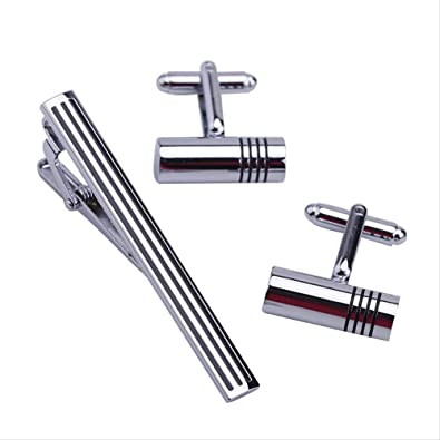 AFHT 1 Sets Traje de los Hombres Camisa de Vestir Corbata Corbata Bar Broche Clip Pin Gemelos Set Regalo: Amazon.es: Joyería