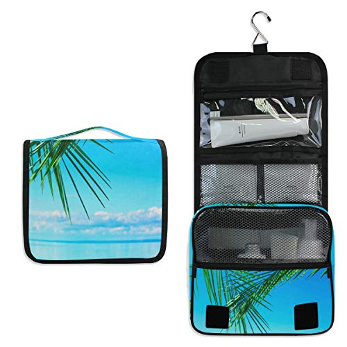 Hanging Toiletry Bag Ocean Palm Leaves Large Cosmetic Makeup Travel Organizer for Men & Women with Sturdy Hook