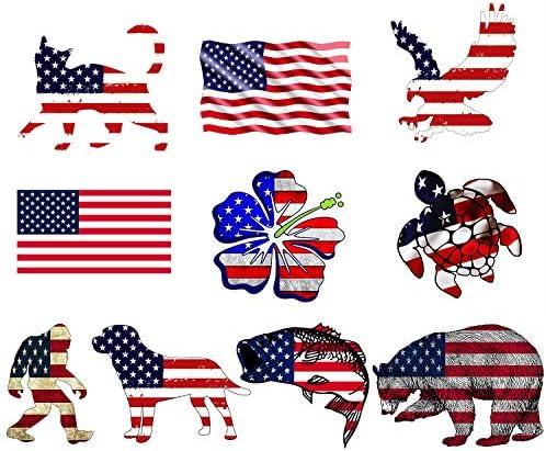 GTOTd Stickers Trump 2020 & American Flag Large Size Sticker(10X2=20Pcs. 2pcs of Each Design). Bumper Trump 2020 Sticker…