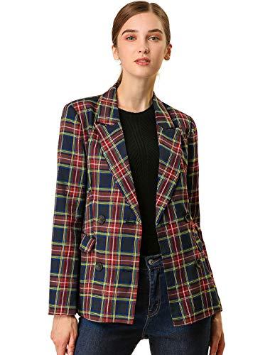 Allegra K Women's Notched Lapel Double Breasted Plaid Work Formal Blazer Jacket S Dark Blue