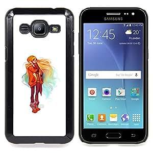 "Qstar Arte & diseño plástico duro Fundas Cover Cubre Hard Case Cover para Samsung Galaxy J2 / J200 (Chica rubia"")"