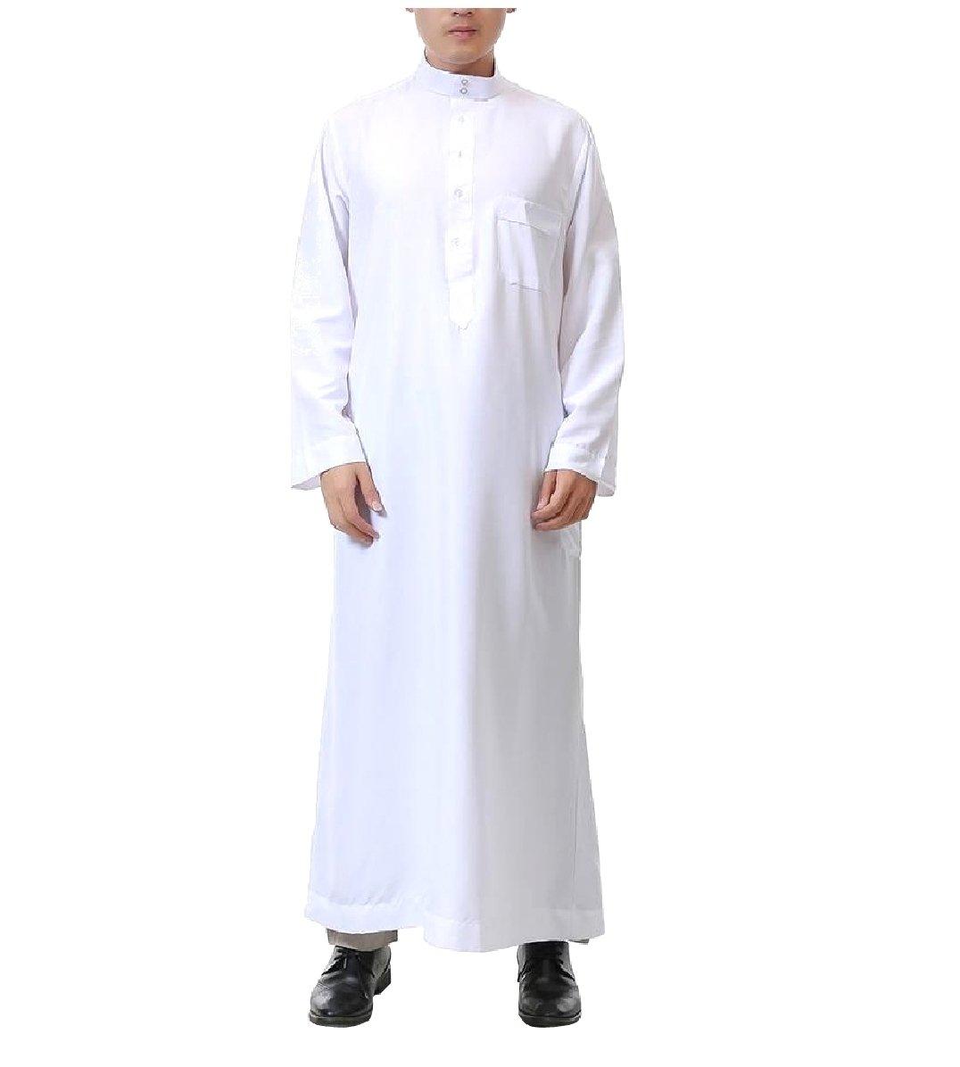 CuteRose Men's Islamic Pockets Mandarin Collar Middle East Muslim Thobe White 60