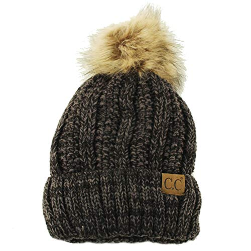 Winter Sherpa Fleeced Lined Chunky Knit Stretch Pom Pom Beanie Hat Cap Mix Black