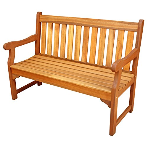 ALK Brands Adam Outdoor Four Foot Hardwood Bench (Natural Wood Finish)