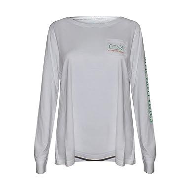 405d23973 Vineyard Vines Women's Long Sleeve Pocket Signature Graphic T-Shirt Patty's  Day ...
