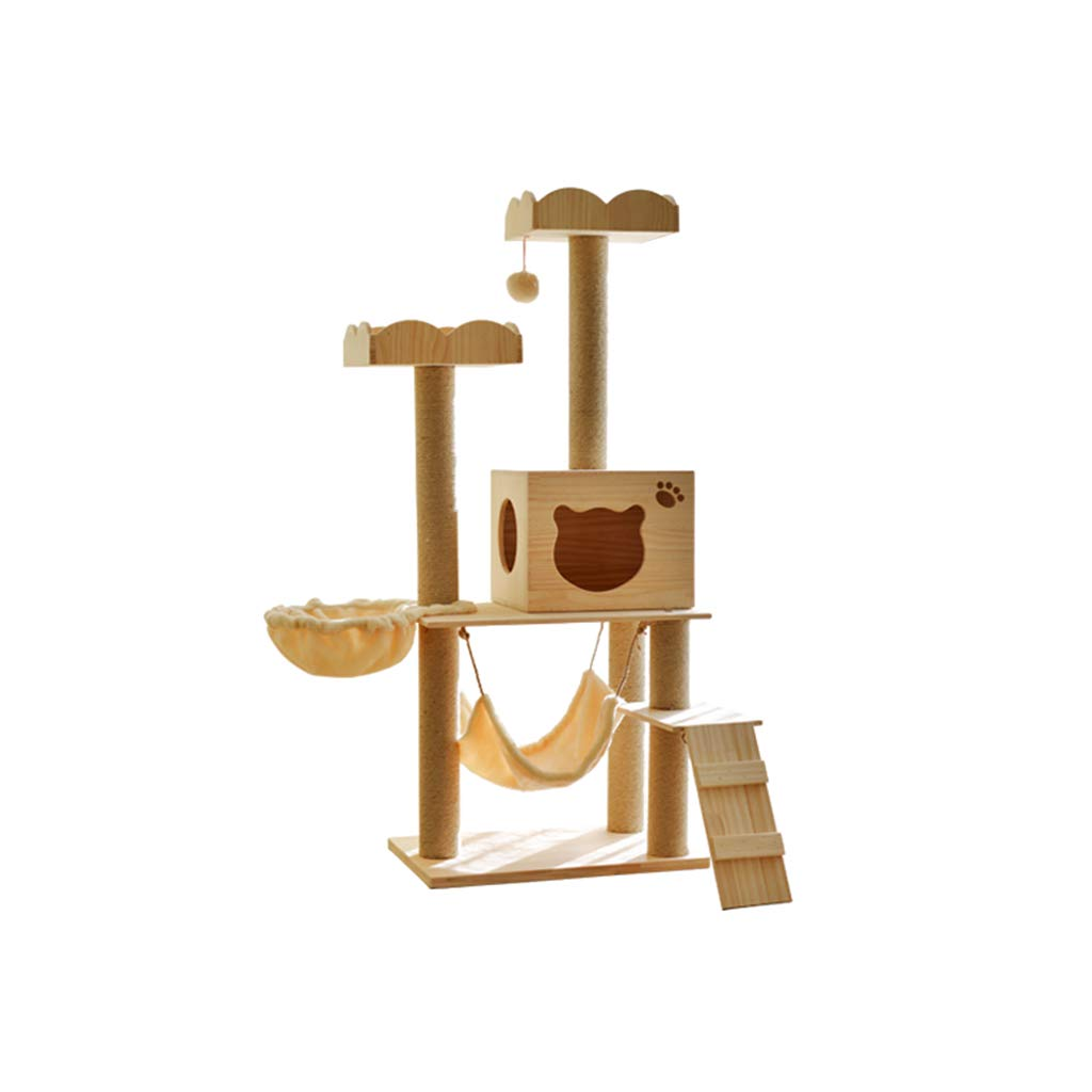 Natural 40cm60cm150cm Natural 40cm60cm150cm Siler Cat Tree, Large Wooden Cat Climbing Frame with Cat House and Hammock Cat Tower Cat Scratch Board Activity Center SL-010 (color   Natural, Size   40cm60cm150cm)