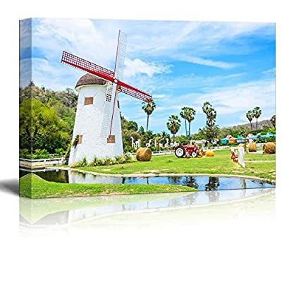 Canvas Prints Wall Art - Beautiful Scenery of White Wind Turbine in The Farm | Modern Wall Decor/Home Art Stretched Gallery Canvas Wraps Giclee Print & Ready to Hang - 32