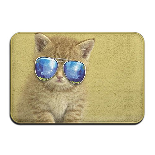 Cool Cat With Sunglasses Absorbent Anti-Slip Mat,Coral Carpet,Carpet Door Mat,Door Mat,40x60 - Cici Sunglasses