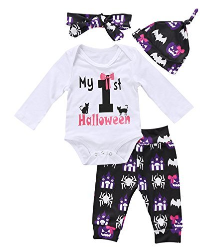 Unisex Baby Boy Girl My First Halloween Print Long Sleeve Romper Pant Leggings Headband Hat Clothes Set (tag: 70/ 0-3 Months, White)