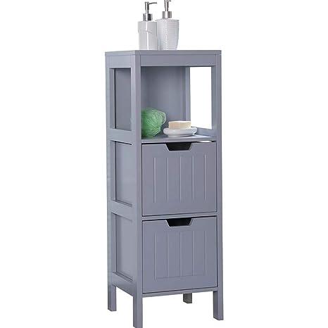 Etnicart - Mobiletto bagno in legno grigio MDF 30x30x89CM salvaspazio  armadietto multiuso arredo bagno mobiletto due cassetti 3 ripiani  contenitore ...