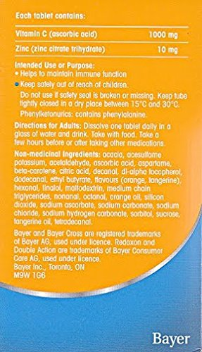 Amazon.com: Redoxon Double Action Orange Effervescent Tablets, 1000mg Vitamin C & 10mg Zinc, 4x15 vials: Health & Personal Care