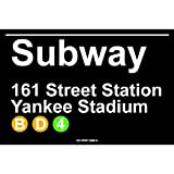 Subway 161 Street Station Yankee Stadium NYC Aluminum Tin Metal Poster Sign Wall Decor 12x18