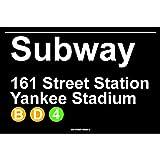 Subway 161 Street Station Yankee Stadium NYC Aluminum Tin Metal Poster Sign Wall Decor 12x18