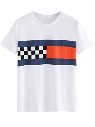 606eb947e9 ROMWE Women's Color Block T-shirt Short Sleeve Casual Tee Shirts Tunic Tops  White XS