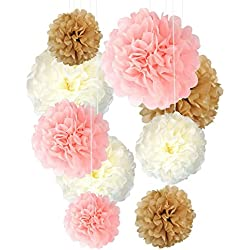 "Tissue Paper Pom Poms Neutral Pink Gold Decorations - 9 Pcs 14"" 12"" 10"" Inch Flower Disco Ball Variety Perfect Decor for Baby Shower Graduation Unicorn Birthday Topper Baptism Bautizo Weddings Bridal"