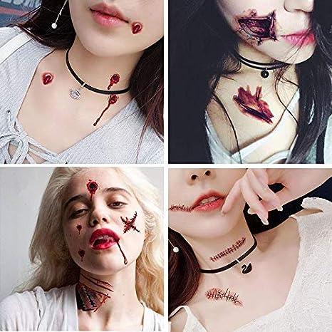 Halloween Waterproof fake blood tattoo Halloween Scars Tattoos Safe Zombie Makeup Kit for Kids /& Adults Spider Tattoos,40 sheets,Halloween Zombie Makeup Kit Tattoos,Vampire Bite Tattoo