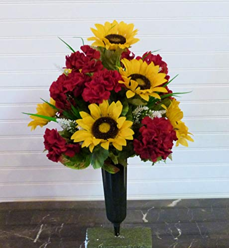 Summer Cemetery Arrangement with Geraniums, Sunflower Cemetery Flowers, Father's Day Cemetery
