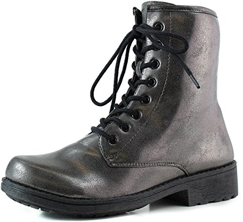 Women's 7 Color Pewter Lace Metallic Boot Combat Up Booties Military Pewter Ankle ranZP7qr