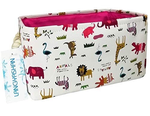 (Rectangular Storage Basket Collapse Canvas Fabric Cartoon Nursery Hamper with Handles for Organizing Home/Kitchen/Kids Toy/Office/Closet/Shelf Baskets(Animals))