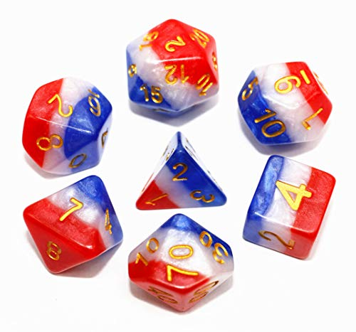 Dragon Dice Game - HD Polyhedral DND Dice Set Transparent Rainbow Dice Compatible Dungeons and Dragons Role Playing Game(RPG),MTG,Pathfinder,Table Game,Board Games Dice Set (RWB)