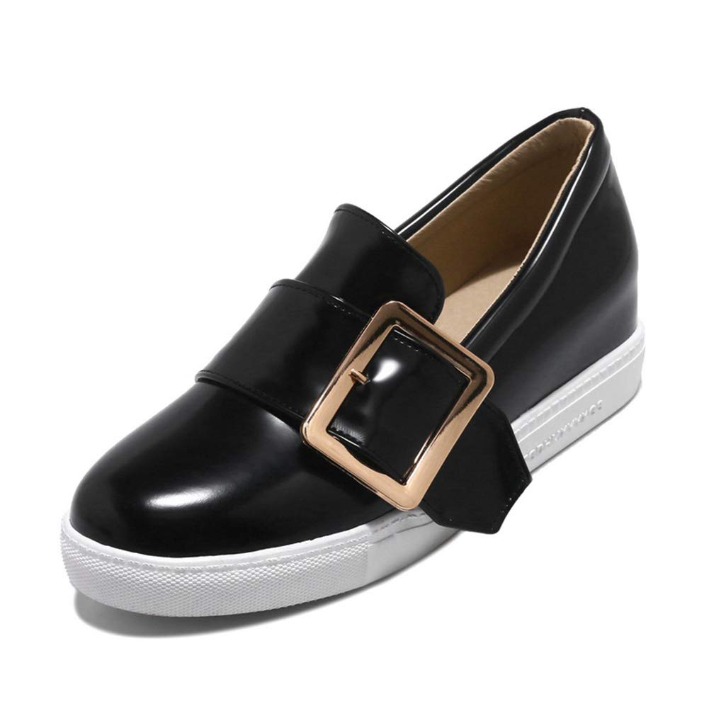 Frau Plattform MüßIggäNger Flache Lackleder Schnalle Slip On Wedges Casual Dress Schuhe