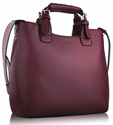 Womens Burgundy Red Large Tote Shoulder Bag Ladies Faux Leather ...