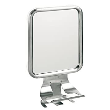 InterDesign Forma Suction Bathroom Or Shower Shaving Mirror With Cream And Razor Holder