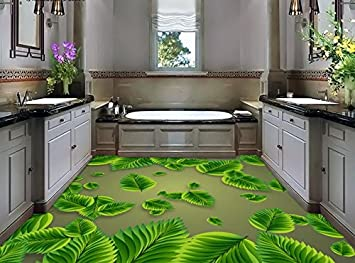 Malilove 3d Flooring Green Leaves Aesthetic Fashion 3d Floor 3d Wallpaper Waterproof 3d Floor Painting Wallpaper Amazon Co Uk Diy Tools